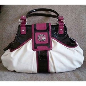 White, Black, & Magenta G By Guess Tote